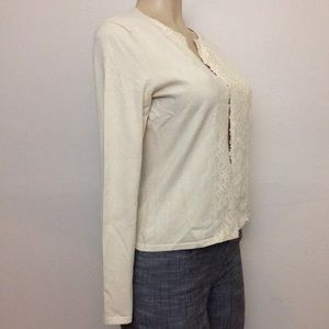 Ann Taylor Cardigan S Silk Blend Beige Sweater